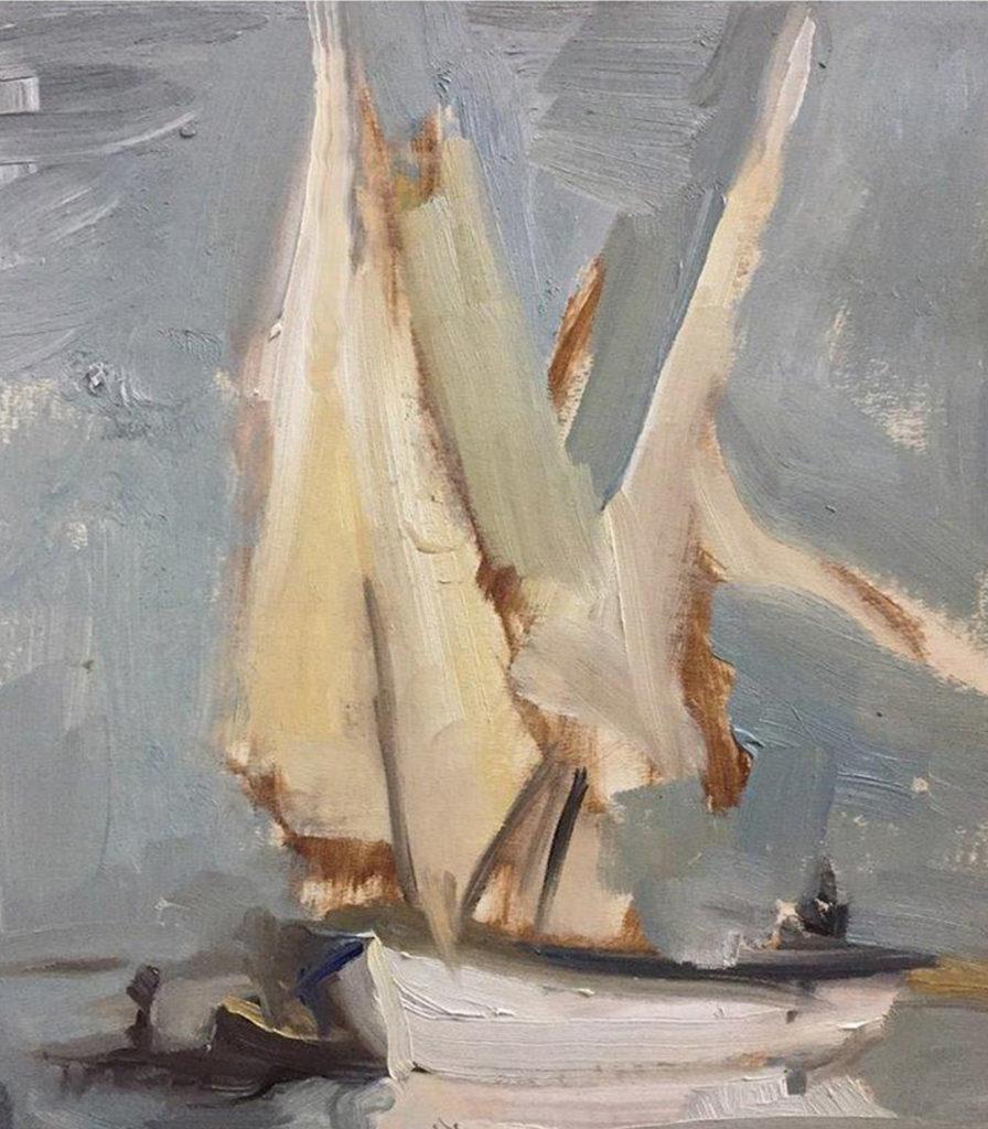 Sails Oil on Gesso Paper 30 x 40 cm 2017